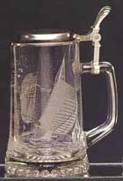 Engraved Gift : Glass Sail Boat Stein -CloseOut -Just 1 Left