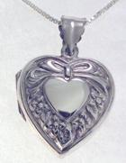 Engraved Gift : Single Ribbon & Rose Sterling Silver Heart Locket