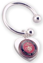 Engraved Gift : USMC  - Military Service Heart Key Chain