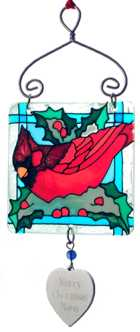 Click for Larger Image -- Snowbird Stained Glass Sun Catcher Ornament