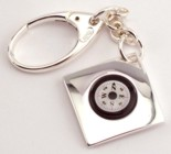 Engraved Gift : Silver Plated Compass Key Chain