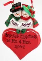 Click for Larger Image -- Snow Couple on Heart Resin Ornament