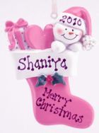 Click for Larger Image -- Snow Baby in Stocking Ornament -Pink