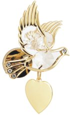 Engraved Gift : Dove /w Clear Crystal  Magnet