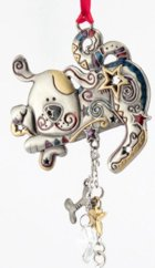 Click for Larger Image -- Pewter and Enamel Dog Ornament