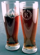 Engraved Gift : Set of Four Etched Pilsner Glasses
